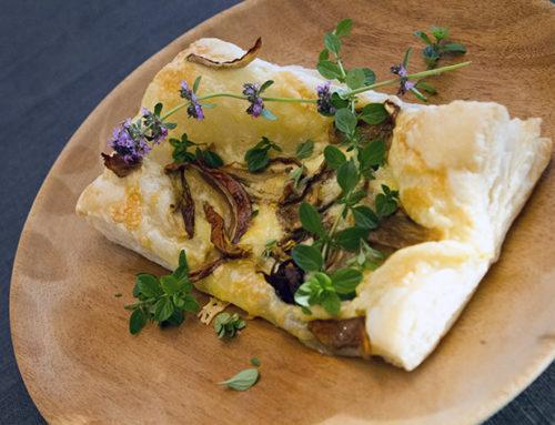 Kveldssnack med sopp og cheddarost